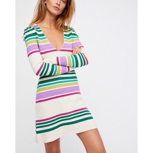 b675f12ce8 Free People Gidget Knit Sweater Dress S Ivory New